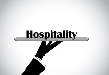 Profesional hand silhouette presenting hospitality text - concept illustration  Illustration