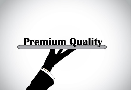 profesional: Profesional hand silhouette presenting premium quality text - concept illustration
