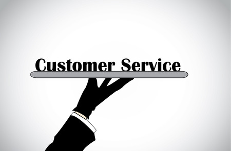 profesional: Profesional hand silhouette presenting customer service text - concept illustration  Illustration