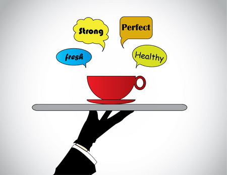 hand silhouette serving fresh hot cofee tea or soup with call outs  A professional waiter Vector
