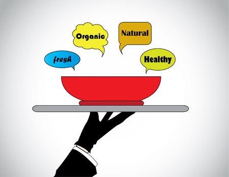call outs: hand silhouette presenting fresh natural organic healthy food  A professional hand silhouette is holding and presenting a bowl of healthy food with call outs with texts - concept illustration  Illustration