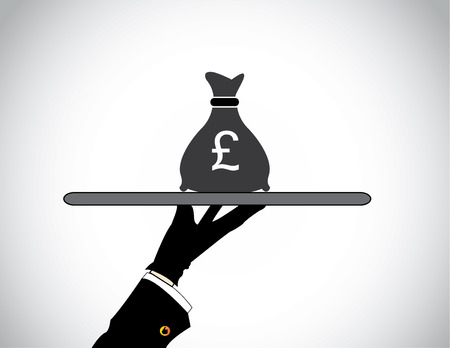 pay money: hand silhouette presenting money bag of british pound sterling  moneybag bank savings or financial investment concept design illustration art Illustration