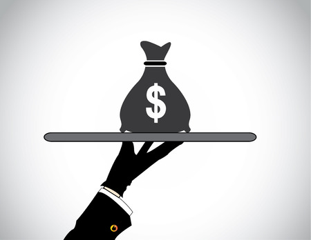 investment concept: hand silhouette presenting money bag of american dollar  moneybag bank savings or financial investment concept design illustration art Illustration