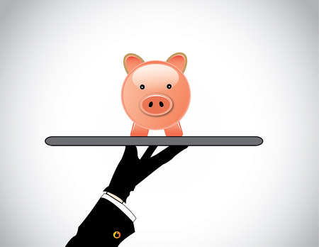 banking concept: hand silhouette presenting a pink piggy bank for savings investment  A professional hand holding a smiling piggybank for investing or saving money or investments  - banking concept illustration
