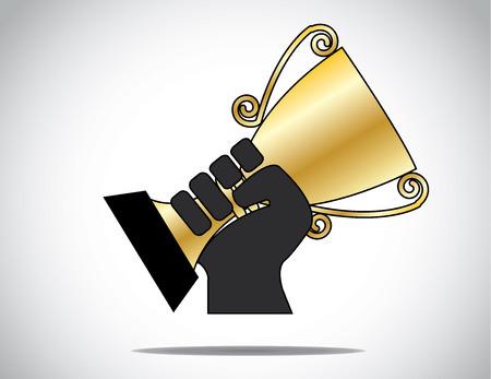 Mano silhouette in possesso di sollevamento coppa d'oro vinto nel compitition Una silhouette unica mano che mostra con orgoglio la coppa d'oro vittorioso vinto come premio - concetto illustrazione Archivio Fotografico - 28406325