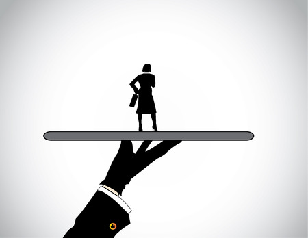 recruit suit: hand silhouette presenting dressed professional business woman  A head hunter presenting the best well dressed female candidate or business person perfectly suited for the job or work  Illustration
