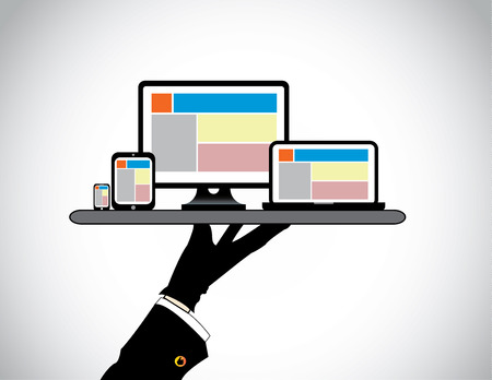 hand presenting desktop computer laptop tablet   smart phone  website template on pc computer laptop tab   smartphone being presented by a professional man in a tray - concept illustration
