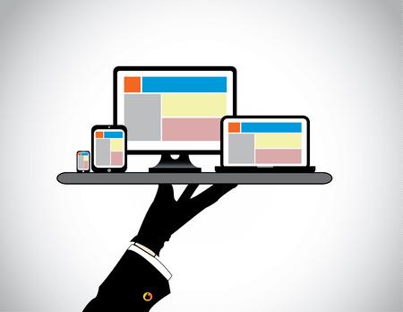 Mano del desktop presentando tablet computer portatile smart phone sito web modello su pc computer portatile smartphone scheda viene presentato da un professionista in un vassoio - concetto illustrazione Archivio Fotografico - 28406331
