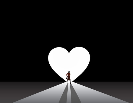 well dressed woman silhouette stand front of big love heart door  stylish nicely dressed business woman in suit stand thinking in front of bright white love or heart symbol shaped door Vector