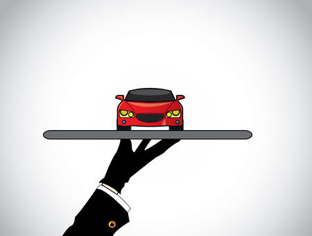 selling service: hand silhouette of a dealer agent offering the best red car - concept illustration of seller offering a beautiful red car on a tray to customer