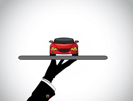 Hand Silhouette von einem Händler Mittel mit dem besten roten Auto - Konzept Illustration der Verkäufer bietet einen schönen roten Auto auf einem Tablett auf Kunden