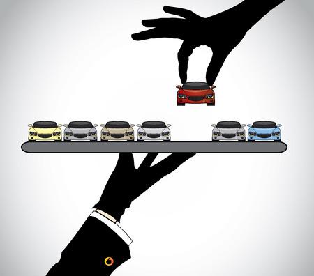 handsilhouet kiezen van de beste rode auto van autodealer middel - concept illustratie van de klant selecteren van een mooie rode auto van een reeks van auto's door de verkoper aan hem aangeboden op een dienblad