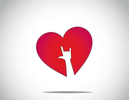 te amo: amor rojo o el icono de forma de coraz�n con un te quiero s�mbolo de la mano del arte Te amo ilustraci�n del concepto