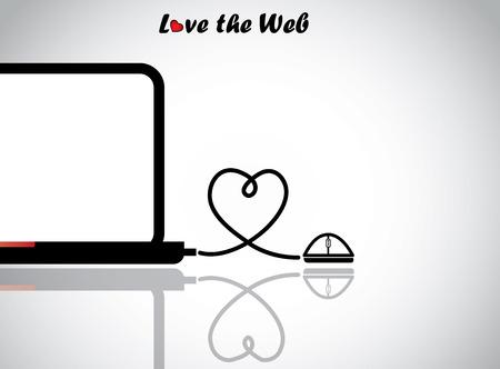 ノート パソコンと愛ハート型ワイヤー接続のマウス技術を愛するまたは反射と有線マウスに接続されている空白の表示とネットブック ノート パソコンと概念図を web ベクターイラストレーション