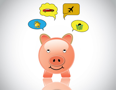 happy piggybank planning to buy home car education and travel  glossy pink piggy bank day dreaming of investing the savings into car, house, higher education and world travel - investment concept Illustration