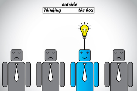 think out of box: happy professional thinking outside the box gets lightbulb idea  blue alert smart professional thinking of an innovative bright glowing idea with other sad candidates unable to think - idea concept