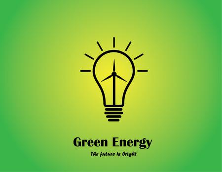 発電機: グリーン エネルギーの明るい電球コンセプト風ミル タービン明るい白熱電球風力発電・再生可能エネルギー技術革新の概念図