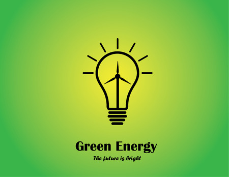 green energy bright lightbulb concept with wind mill turbine  bright glowing light bulb with wind power generator - renewable energy innovation concept illustration Vector