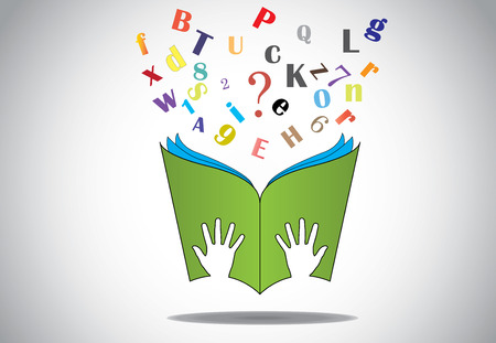 kids reading book: hand holding open book with flying alphabets n question mark  two little human or children hands holding a green study book with flying alphabet and question mark - education concept illustration