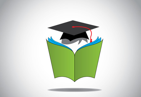 graduation day college student with hat reading green open book  Professional graduate student with ceremonial hat studying or learning from a big open book with multiple pages - education concept Vettoriali