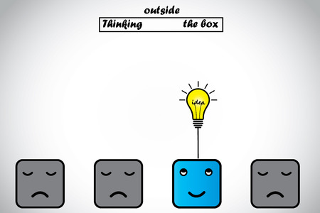 candidates: happy professional thinking outside the box gets lightbulb idea  blue alert smart professional thinking of an innovative bright glowing idea with other sad candidates unable to think - idea concept
