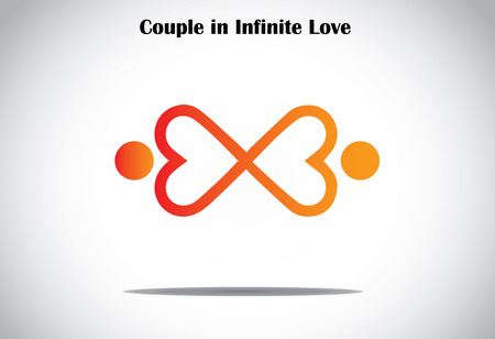 man woman couple holding hands in infinite love concept symbol Vector