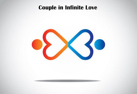 infinite symbol: man woman couple holding hands in infinite love concept symbol