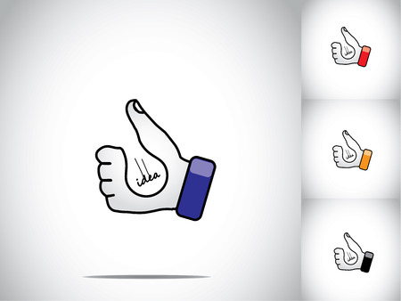 thumbs up hand illustration symbol with lightbulb idea concept  different colored human hands with light bulb groove -  innovation creativity success concept illustration art set Vector