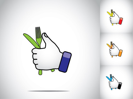 media equipment: thumbs up hand illustration symbol with color folk and knife art  different colored human hands with colorful folk and knife - eat out or resturant concept illustration art set