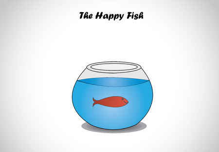 single red happy fish in glass aquarium bowl concept design  a transparent fishbowl with red dark smiling aquatic fish swimming in happiness in fresh blue water - illustration art Vector