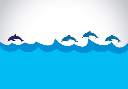 dolphin jumping: young blue dolphin lead a group of dolphins