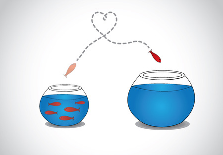 taking a risk: alert young fish escaping from crowded small glass bowl to big   a smart red happy fish jumping from a small a glass tank with blue water to a big one - passion risk taking concept illustration art  Illustration