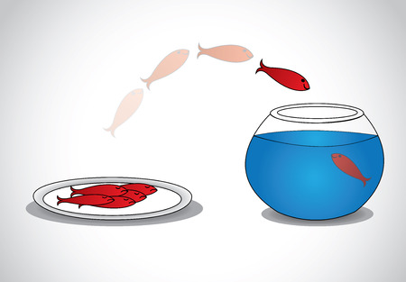 alert young fish escaping from plate of dead fishes to glass bowl  a smart red happy fish jumping from a plate of sad dead fishes to a glass tank with blue water - survival concept illustration art  Vector