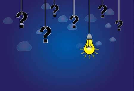 question mark   bright yellow light bulb with idea text hanging  dark blue night sky with white clouds background with glowing lightbulb solution and question marks hanging along side - abstract art