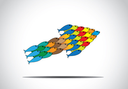 group of muticolored fishes moving up in an arrow shape concept art  colorful fish team working together as close knit unit and making progress in upword direction - teamwork leadership illustration