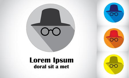 Occhiali cappello design piatto arte astratta di agente detective spia impostato colorate uniche icone simbolo di persona con il cappello di occhiali alla ricerca o alla ricerca di qualcosa - concetto di raccolta illustrazione di arte Archivio Fotografico - 30150537
