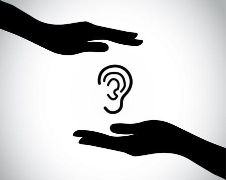 Ohr oder Hören prüfen oder Schutz mit Hand Silhouetten. Hände Schutz und zur Sicherung eines Angebots Ohr - Gesundheit und medizinische Konzept Illustration Kunst