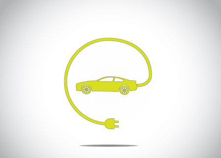 장 전기: 충전기 플러그 연결 개념 아이콘 기호 다채로운 전기 하이브리드 자동차. 자동차 그림 미술에서 케이블 충전기 플러그와 녹색 색상의 자동차