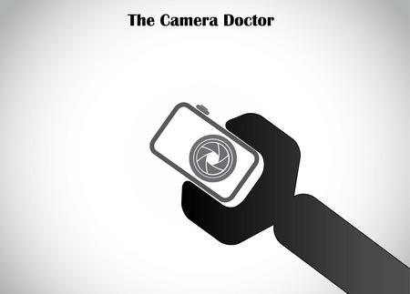 digital camera repair symbol icon with black spanner tool concept illustration art Vector