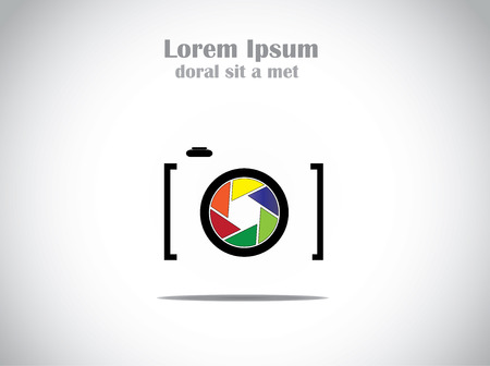 abstract aperture: Concept Illustration of trendy minimalistic Camera with colorful shutter icon symbol Illustration