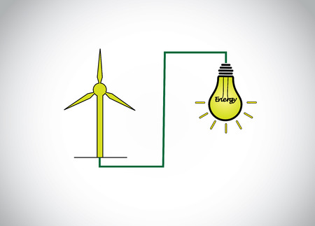 green wind mill turbine generating power energy & glowing yellow light bulb. natural renewable energy production using wind mills simple concept illustration design art Vector