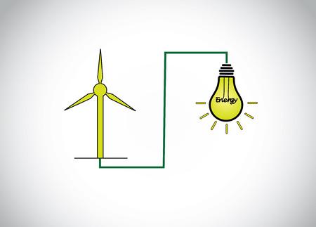 energy production: green wind mill turbine generating power energy & glowing yellow light bulb. natural renewable energy production using wind mills simple concept illustration design art Illustration