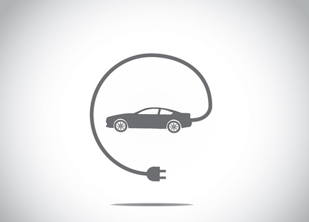 recarga: colorido coche h�brido el�ctrico con cargador de enchufe conectado concepto de icono de s�mbolo. coche de color oscuro con clavija del cargador del cable del coche ilustraci�n de arte Vectores