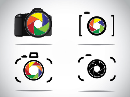 digital slr: Concept Illustration of trendy minimalistic 3d digital SLR and simple Camera icons set with shutter icon or symbols
