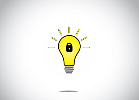patent: patent idea or patented solution locked or protected bright glowing yellow light bulb