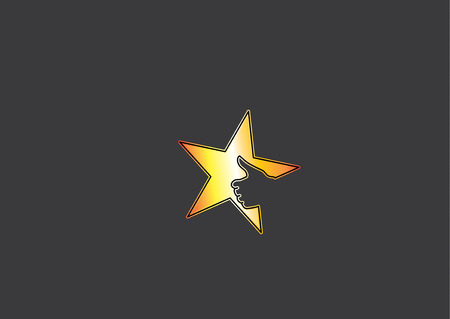 bright yellow golden colorful star icon with thumbs up social media human hand symbol