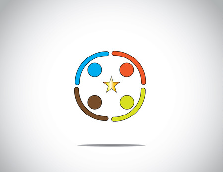 team of colorful diverse young people work together in a huddle holding hands to achieve success & excellence with golden star in the middle - concept illustration Vector