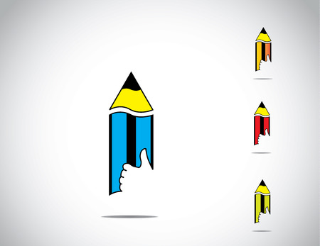 sharp yellow, blue, red and green colorful isolated wooden pencil with thumbs up like hand icon symbol set with white background - schooling education learning charity icon concept illustration art Vector