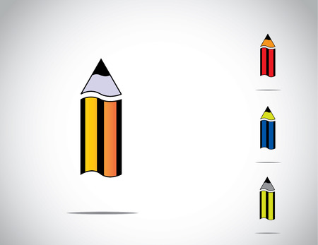 sharp yellow, blue, red and green colorful isolated wooden pencil icon symbol set with white background - schooling education learning charity icon concept illustration art