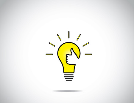 bright glowing yellow idea solution light bulb with young human victory winning thumbs up hand gesture